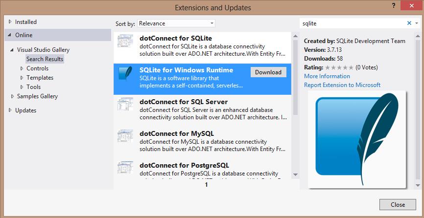 Extensions and Updates - Wybór paczki SQLite dla WinRT